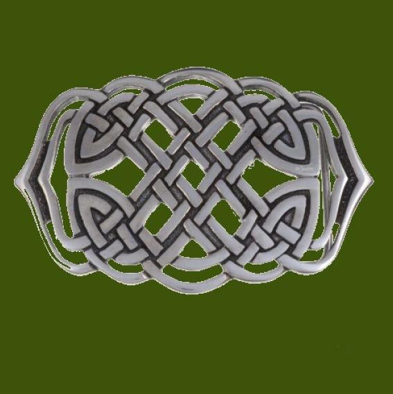 Image 0 of Celtic Mermaid Knotwork Embossed Large Mens Stylish Pewter Belt Buckle