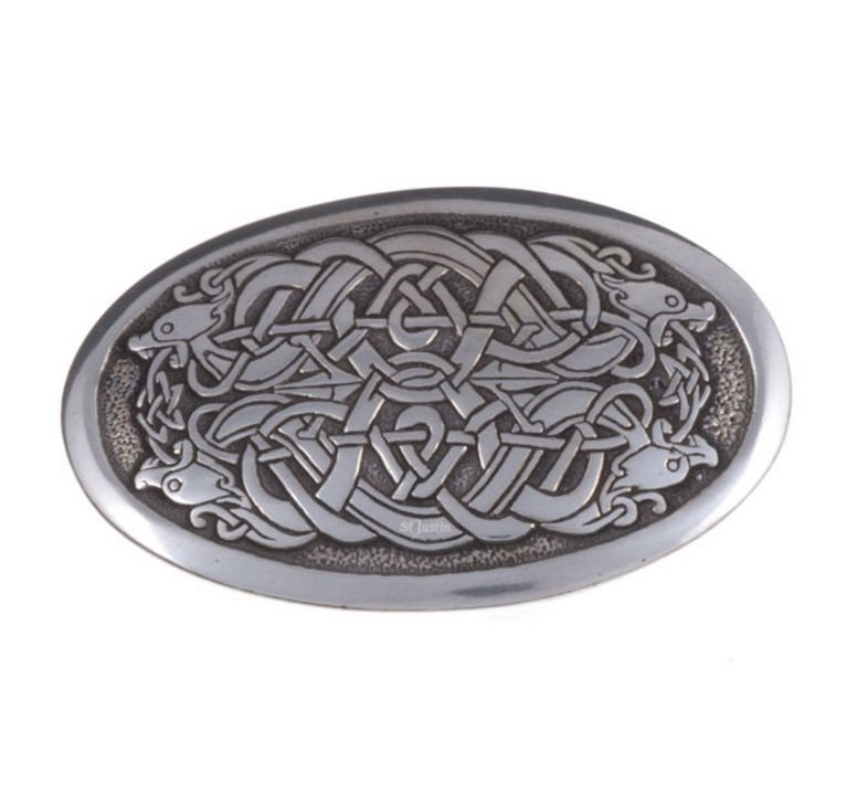 Image 1 of Serpent Celtic Knotwork Embossed Small Mens Stylish Pewter Belt Buckle