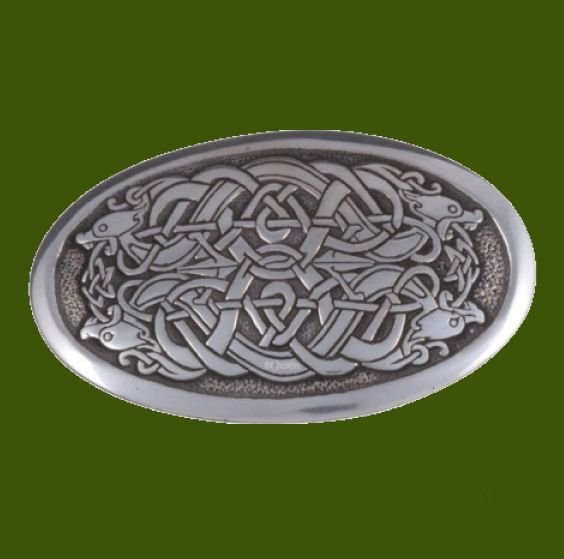 Image 0 of Serpent Celtic Knotwork Embossed Small Mens Stylish Pewter Belt Buckle
