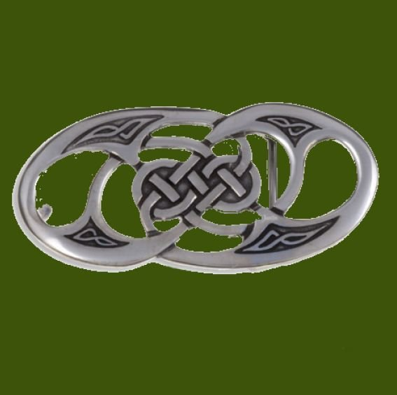 Image 0 of Celtic Twisted Knotwork Embossed Small Mens Stylish Pewter Belt Buckle