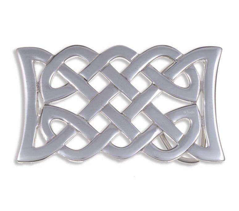 Image 1 of Celtic Kells Open Knotwork Rectangular Large Mens Stylish Pewter Belt Buckle