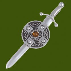 Amber Sword And Shield Celtic Knotwork Stylish Pewter Kilt Pin