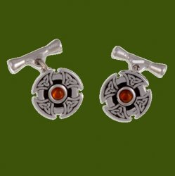 Amber Celtic Cross Knotwork Chain Mens Stylish Pewter Cufflinks