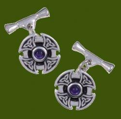 Amethyst Celtic Cross Knotwork Chain Mens Stylish Pewter Cufflinks