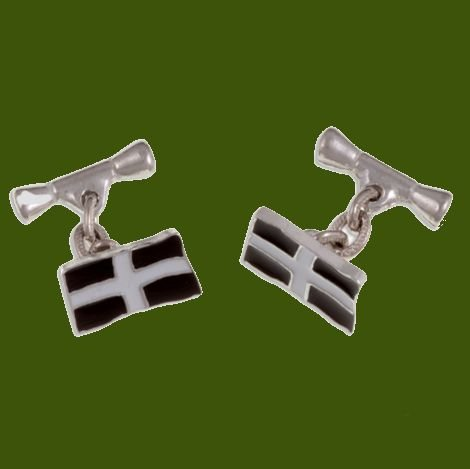 Image 0 of St Piran Flag Enamel Chain Small Mens Stylish Pewter Cufflinks