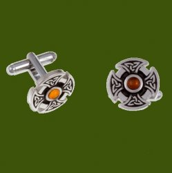 Amber Celtic Cross Knotwork Mens Stylish Pewter Cufflinks