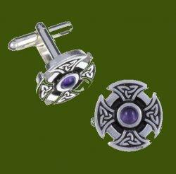 Amethyst Celtic Cross Knotwork Mens Stylish Pewter Cufflinks
