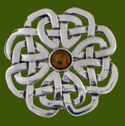 Amber Celtic Rose Open Knotwork Antiqued Stylish Pewter Brooch