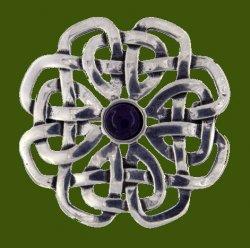 Amethyst Celtic Rose Open Knotwork Antiqued Stylish Pewter Brooch