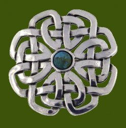 Turquoise Celtic Rose Open Knotwork Antiqued Stylish Pewter Brooch