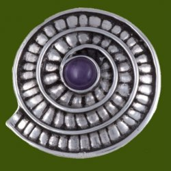 Amethyst Ammonite Shell Spiral Antiqued Stylish Pewter Brooch