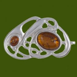 Amber Celtic Nouveau Open Knotwork Antiqued Stylish Pewter Brooch