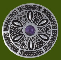 Amethyst Celtic Wheel Embossed Round Antiqued Stylish Pewter Brooch