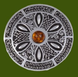 Amber Celtic Wheel Embossed Round Antiqued Stylish Pewter Brooch