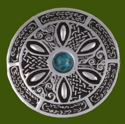 Turquoise Celtic Wheel Embossed Round Antiqued Stylish Pewter Brooch