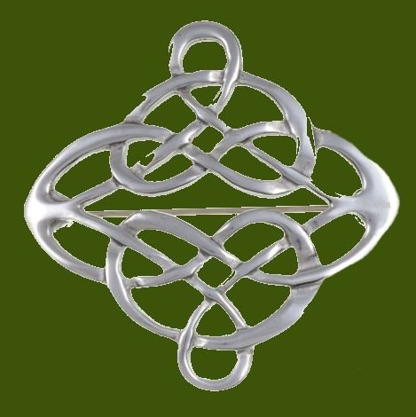 Image 0 of Celtic Entwined Linked Knotwork Antiqued Stylish Pewter Brooch