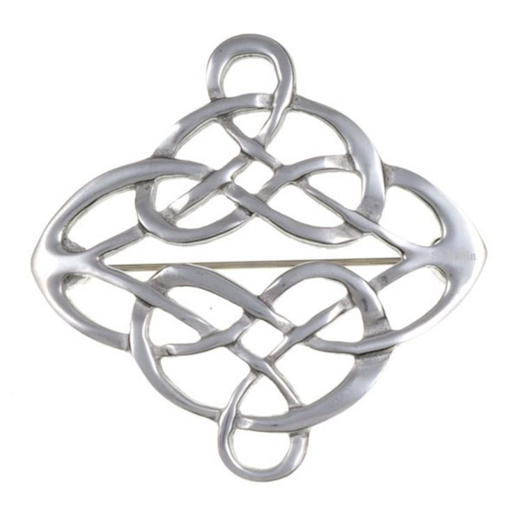 Image 1 of Celtic Entwined Linked Knotwork Antiqued Stylish Pewter Brooch