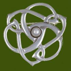 Pearl Celtic Triscele Open Knotwork Antiqued Stylish Pewter Brooch
