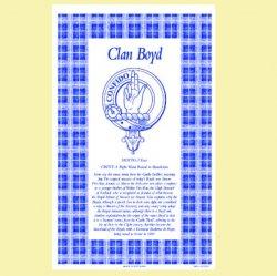 Boyd Clan Scottish Blue White Cotton Printed Tea Towel