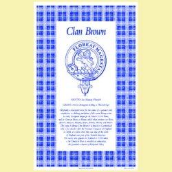 Brown Clan Scottish Blue White Cotton Printed Tea Towel