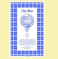 Bruce Clan Scottish Blue White Cotton Printed Tea Towel