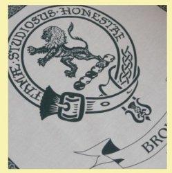 Brown Clan Cloot Crest Unbleached Cotton Printed Tea Towel