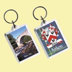 Aitken Coat of Arms Tartan Family Name Acryllic Key Ring Set of 3