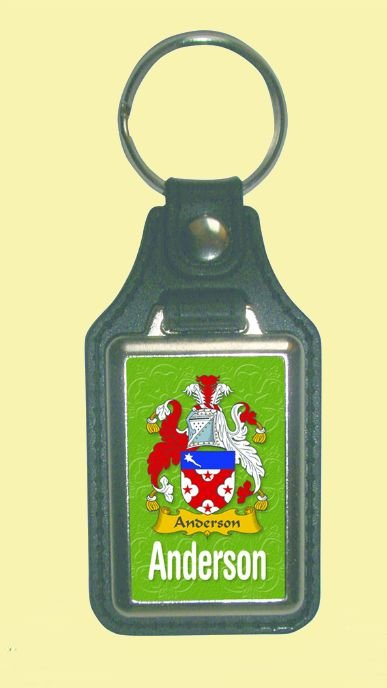 Image 0 of Anderson Coat of Arms English Family Name Leather Key Ring Set of 2
