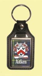 Aitken Coat of Arms Tartan Scottish Family Name Leather Key Ring Set of 2