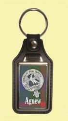 Agnew Clan Badge Tartan Scottish Family Name Leather Key Ring Set of 2