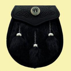 Celtic Embossed Detail Clan Crest Black Leather Semi Dress Mens Sporran