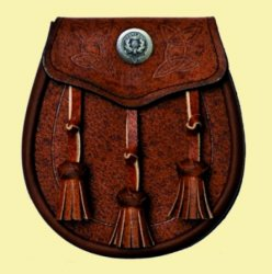 Celtic Embossed Detail Clan Crest Brown Leather Day Mens Sporran