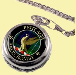 Abercromby Clan Crest Round Shaped Chrome Plated Pocket Watch