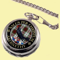 Abernethy Clan Crest Round Shaped Chrome Plated Pocket Watch