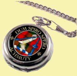 Achmuty Clan Crest Round Shaped Chrome Plated Pocket Watch