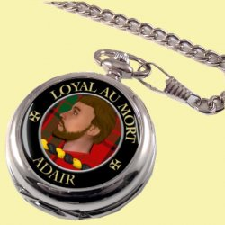 Adair Clan Crest Round Shaped Chrome Plated Pocket Watch