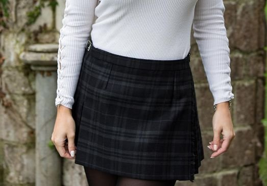 Image 2 of Evans Bevan Welsh Tartan 13oz Wool Fabric Medium Weight Ladies Mini Skirt