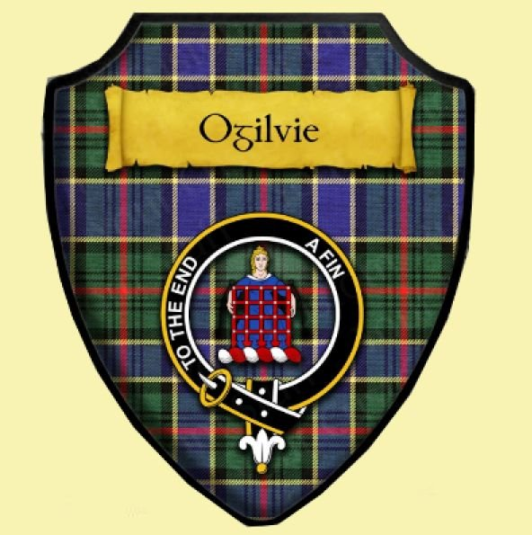 Image 0 of Ogilvie Hunting Modern Tartan Crest Wooden Wall Plaque Shield