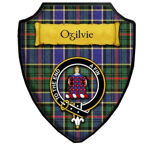 Image 1 of Ogilvie Hunting Modern Tartan Crest Wooden Wall Plaque Shield
