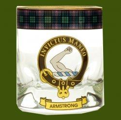 Armstrong Clansman Crest Tartan Tumbler Whisky Glass Set of 4