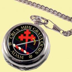 Adam Clan Crest Round Shaped Chrome Plated Pocket Watch