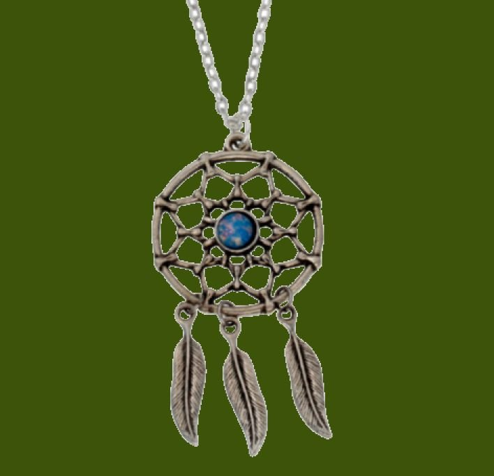 Image 0 of Dreamcatcher Opal Glass Stone Stylish Pewter Pendant