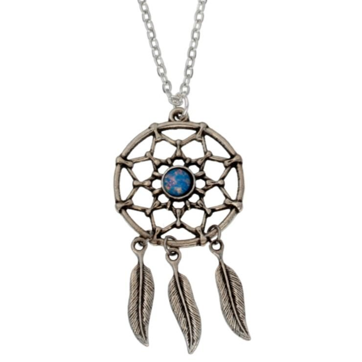 Image 1 of Dreamcatcher Opal Glass Stone Stylish Pewter Pendant