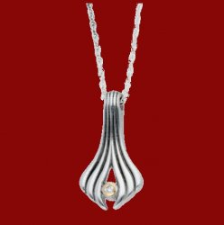 Ariel Diamond Shell Textured Cornish Tin Pendant