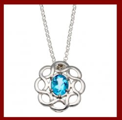 Blue Topaz Celtic Knotwork Cornish Tin Pendant