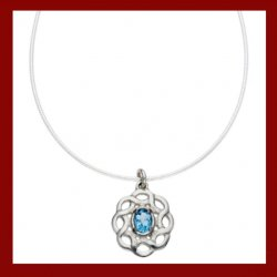 Blue Topaz Celtic Knotwork Small Cornish Tin Pendant