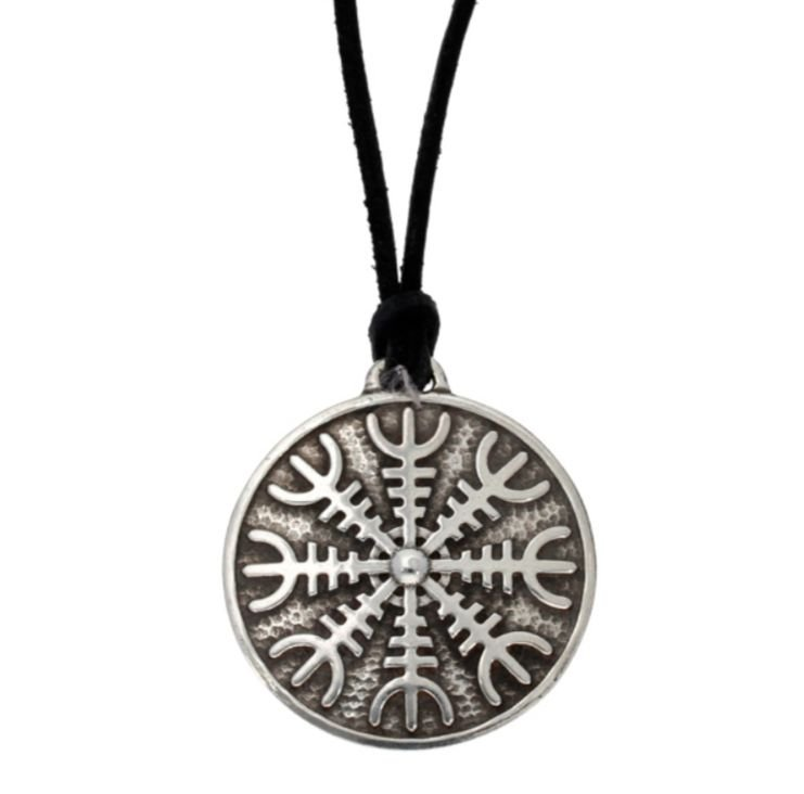Image 1 of Helm Of Awe Viking Symbol Wax Cord Thong Stylish Pewter Pendant