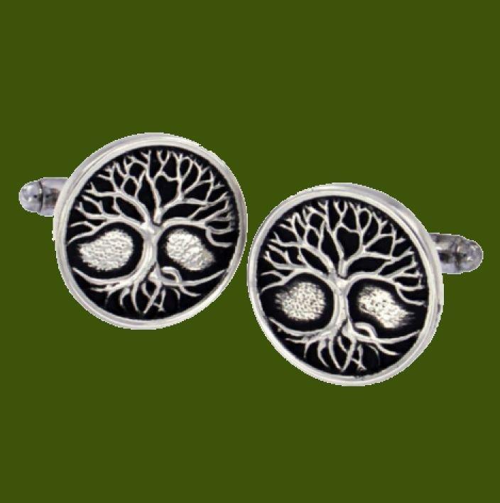 Image 0 of Tree Of Life Circular Antiqued Mens Stylish Pewter Cufflinks