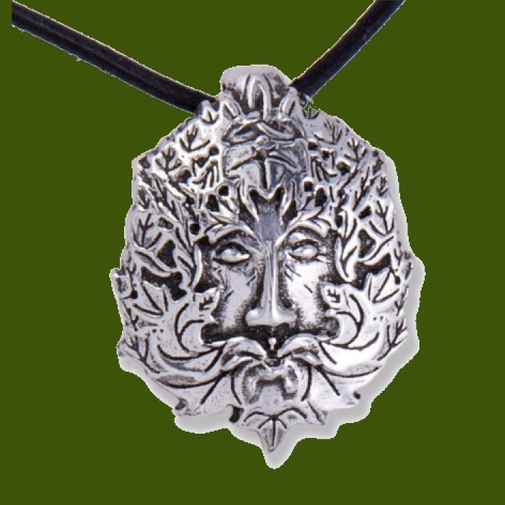 Image 0 of Montol Festival Green Man Antiqued Leather Cord Thong Stylish Pewter Pendant