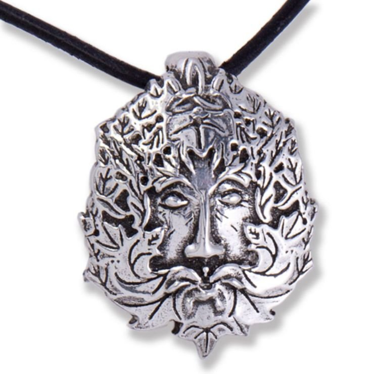 Image 1 of Montol Festival Green Man Antiqued Leather Cord Thong Stylish Pewter Pendant
